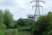 The Oxford Canal with pylon, Hawkesbury, Warwickshire