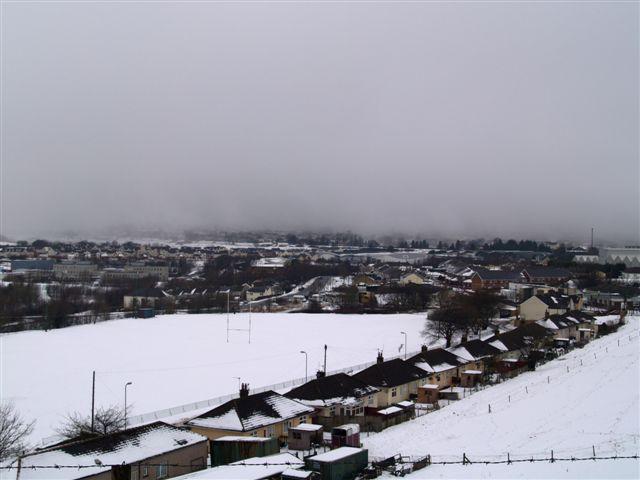 Brynmawr in snow and fog