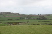 View SE across farmland at Bodneithior with Mynydd Bodafon in the background