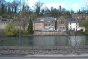 Across the pond, Cromford; a view with bookshop