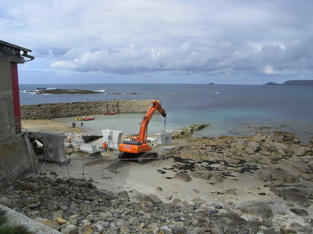 Preparing for the new lifeboat at Sennen Cove