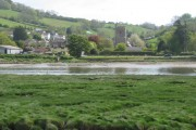 Axmouth and its church across the River Axe
