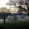 Evening mist rising from the River Alyn