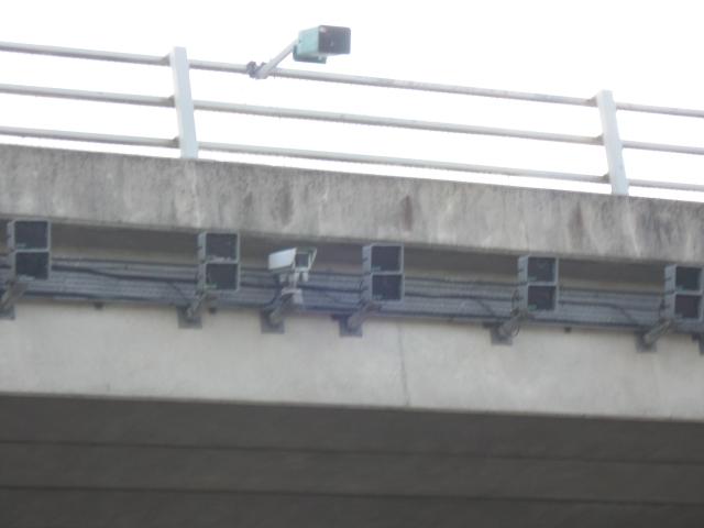 Detail of surveillance camera, A6071 bridge over M74/M6 Gretna