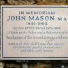 "Memorial to John Mason ""The Glory of the Church of England"""