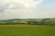 A view over farmland towards Cwm Ogwr Fach