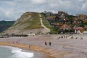 West Bay: the west beach with West Cliff beyond