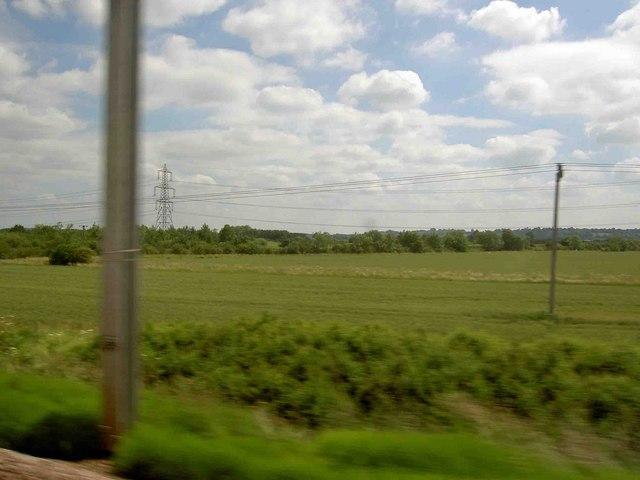 Farmland north of Sandy railway station