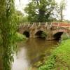 Eashing: the River Wey approaching Eashing Bridge
