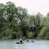 Fishing from boats near the woodland edge, Tringford Reservoir