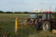Footpath, tractors and cooling towers