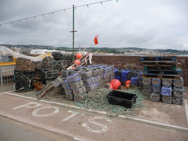 Paignton: pots on harbour wall