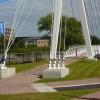 Looking across the new footbridge
