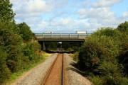 The M40 crosses the railway