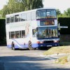 Bus manoeuvring a tight bend