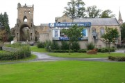 Tourist information and the Abbey tower at Jedburgh