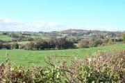 View northwestwards across farmland towards the Mariandyrys limestone outcrop