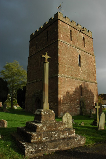 A cross and tower of Bosbury Church