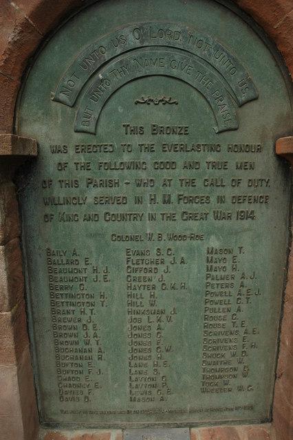 War Memorial, Bosbury