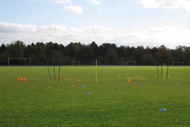 Junior football training set-up, Newbold Comyn Park, Royal Leamington Spa