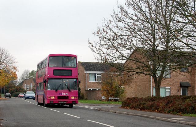 Bus passing Cottage Close, Sydenham estate