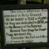 A thought provoking sign in Carno churchyard
