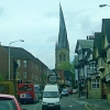 The famous wonky spire of Chesterfield, and half-timbered houses