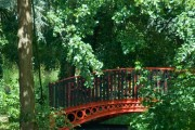 Red model railway bridge, Stratford Park,Stroud