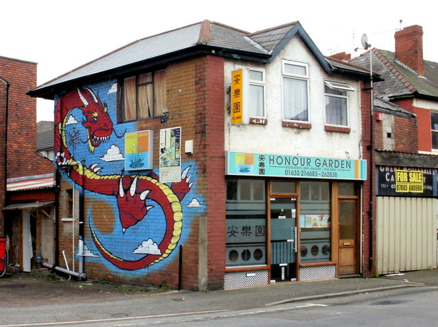 Chinese dragon mural, Honour Garden, Newport