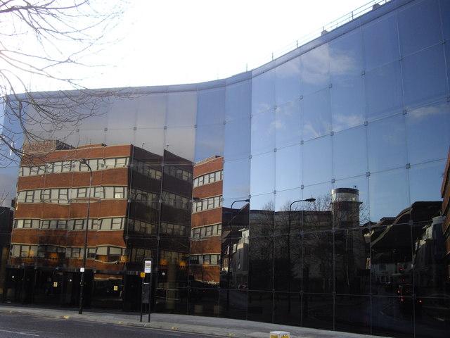 Reflection in office block in Princess Street Ipswich