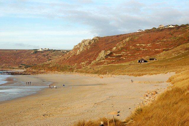 Beach at Carn Towans with Ercall Cliff beyond