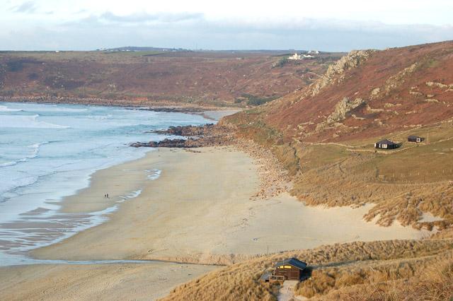 Stream across the beach at Carn Towan near Sennen Cove