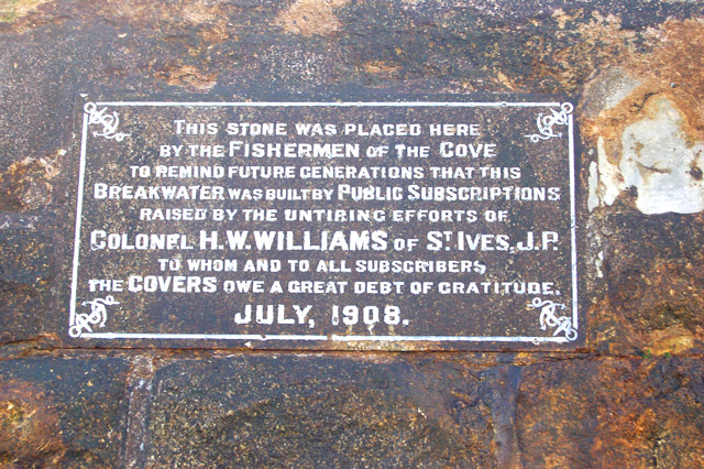 Plaque on the breakwater at Sennen Cove