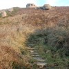 Steps up to a pillbox above Sennen Cove