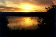 Sunrise over a lake near Leybourne