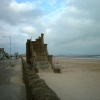 Swansea beach and remains of footbridge