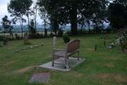 Bench captured in churchyard