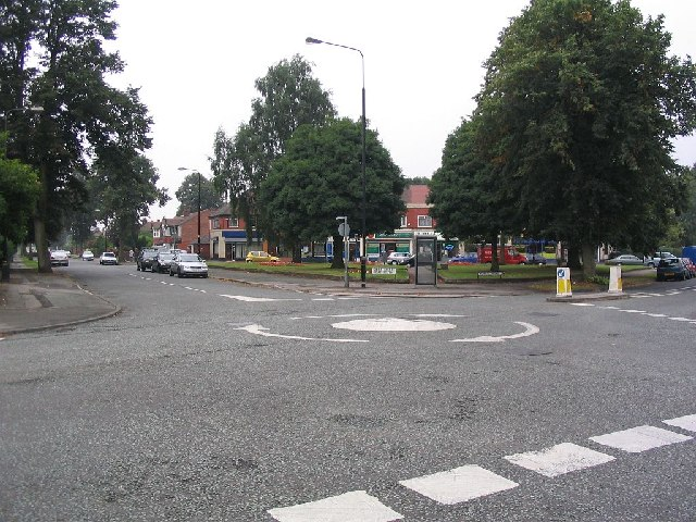 Mini roundabout and shops