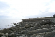 The rocky shore between Longrigg and Logan Mill