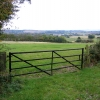 Farm gate and Greensand landscape above Clophill, Beds