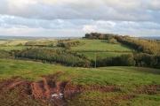 Huntsham: east to Huntsham Castle