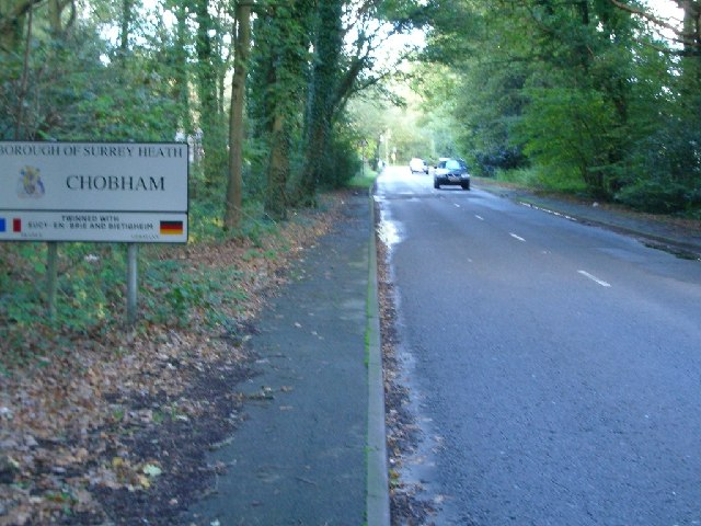 The approach to Chobham along Guildford Road