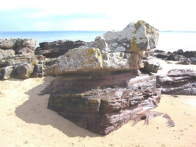 Rock outcrop on Dornoch beach.