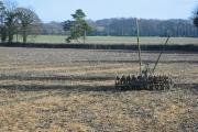 Cultivator in field of stubble