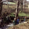 Students measuring the Afon Hen just by the main road