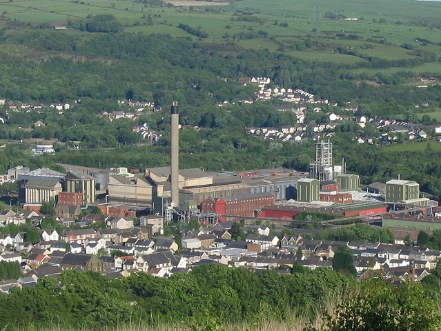 Clydach Refinery seen from above