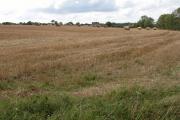 Straw bales in stubble field, Fields Farm