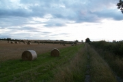 Bales next to track to Horn Bank Farm
