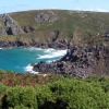 Panoramic view from Carnelloe Cliff towards Zennor Head