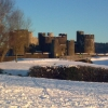 Caerphilly castle in the snow